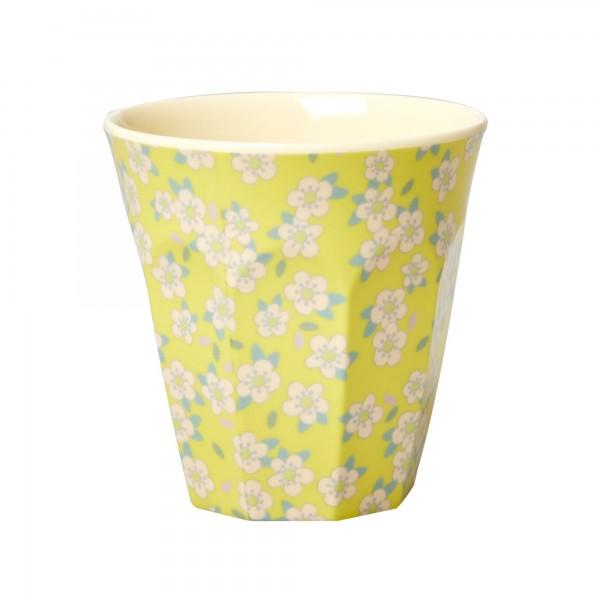 RICE Melamin Becher SMALL FLOWER Gelb Medium