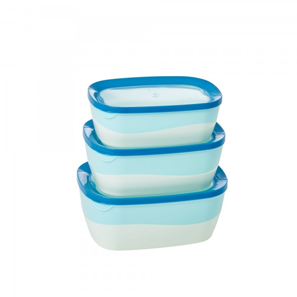 RICE Aufbewahrungsbox 3er Set mit Sichtfenster BLUE