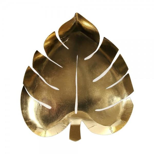 Meri Meri Palmblatt Pappteller gold