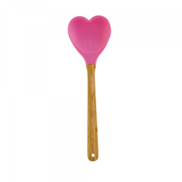 RICE Silikon Küchenlöffel HEARTSHAPE Fuchsia