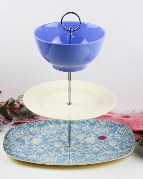 RICE Etagere BLUE FERN AND FLOWER aus Melamin Geschirr