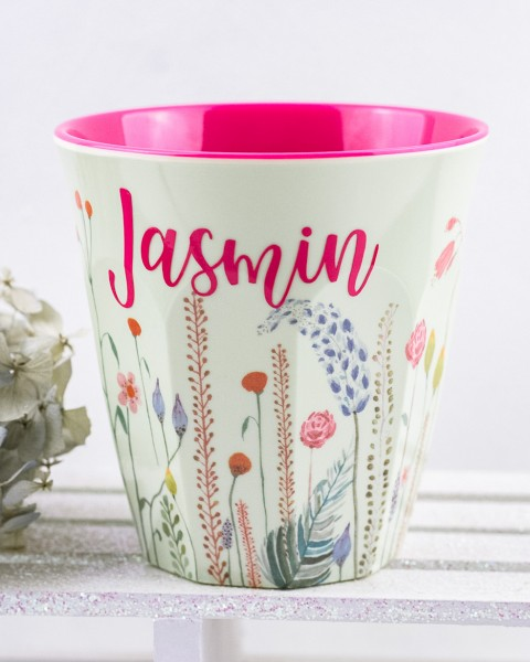 Personalisierter RICE Melamin Becher SUMMER FLOWERS Medium