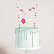 Rico Design Caketopper Set Happy Birthday Pastell