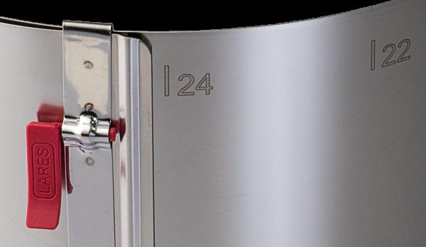 LARES Tortenring/Backring mit Klemmhebel und Skalierung H 10 cm Ø 18-30 cm