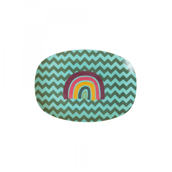 RICE Melamin Platte ZIG ZAG RAINBOW Small Rectangular