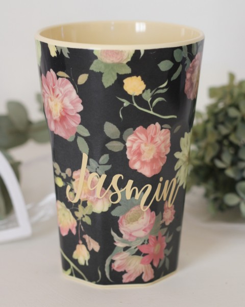 Personalisierter RICE Melamin Becher DARK ROSE Tall