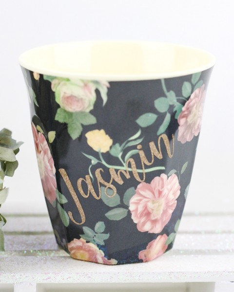 Personalisierter RICE Melamin Becher DARK ROSE Medium