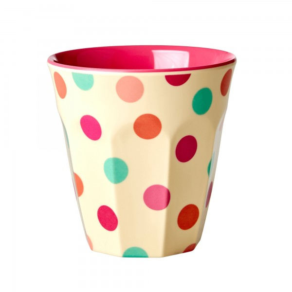 RICE Melamin Becher PINK DOTS Medium
