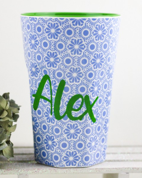 Personalisierter RICE Melamin Becher MARRAKESH Blue Tall