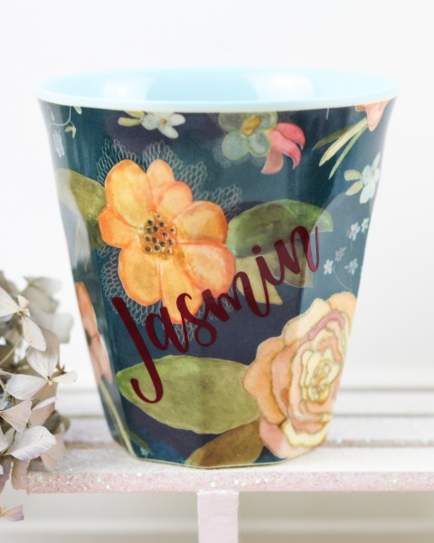 Personalisierter RICE Melamin Becher SELMA´S FALL FLOWER Medium