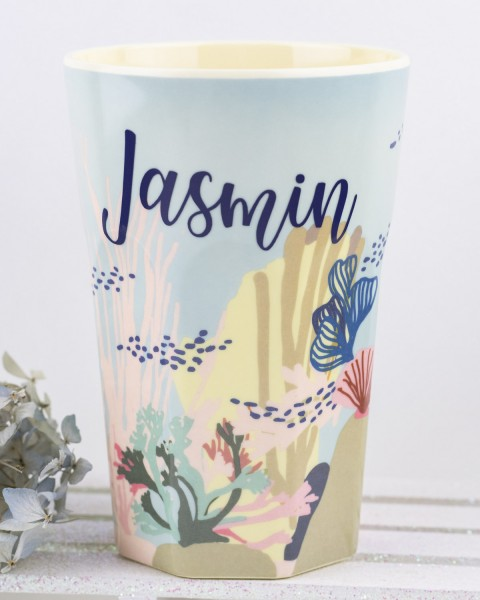 Personalisierter RICE Melamin Becher CORAL Tall