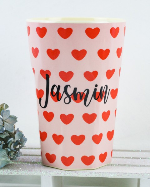 Personalisierter RICE Melamin Becher SWEET HEART Tall