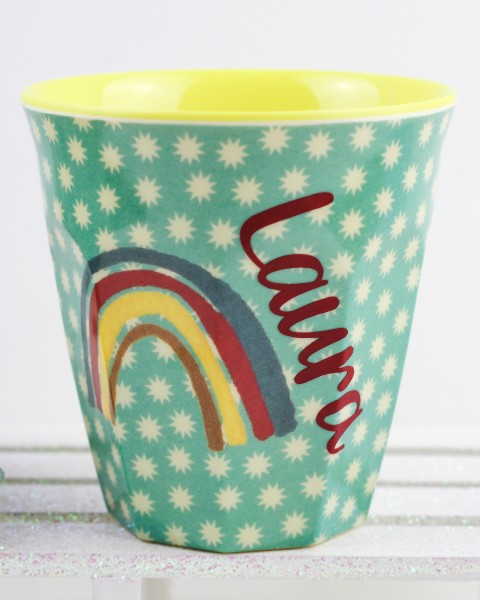Personalisierter RICE Melamin Becher RAINBOW AND STARS Medium