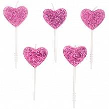 Rico Design Herz Kerzen Glitter Rosa