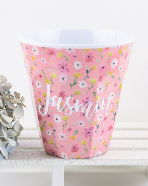 Personalisierter RICE Melamin Becher EASTER FLOWER PINK Medium