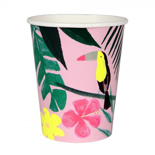 Meri Meri Pink Tropical Pappbecher