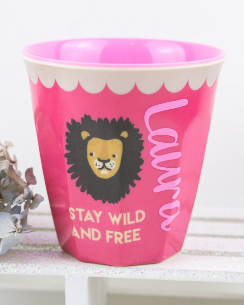 Personalisierter RICE Melamin Becher LION Pink Medium