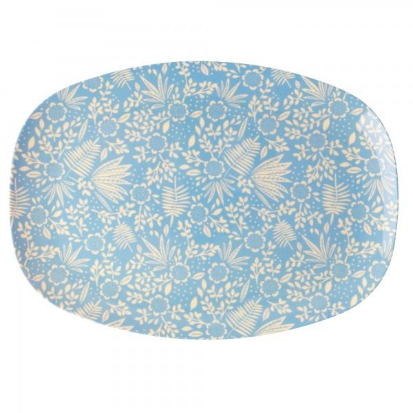 RICE Melamin Platte BLUE FERN AND FLOWER Rectangular