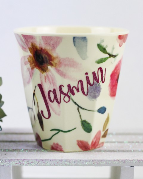Personalisierter RICE Melamin Becher SELMAS FLOWER Medium