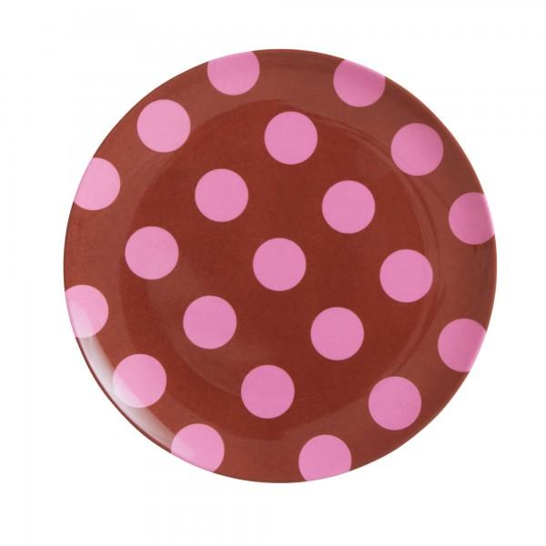RICE Melamin Teller PINK DOTS