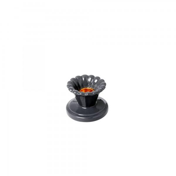 RICE Keramik Kerzenhalter grau