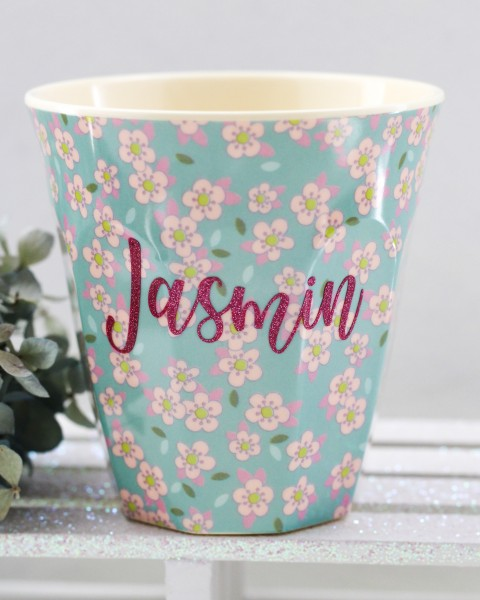 Personalisierter RICE Melamin Becher SMALL FLOWER HELLBLAU Medium